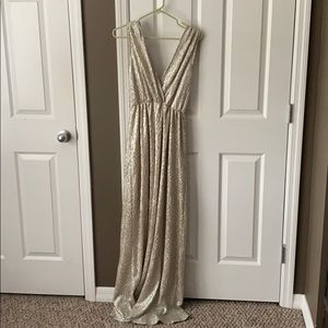 Gold shimmery LuLus bridesmaid dress